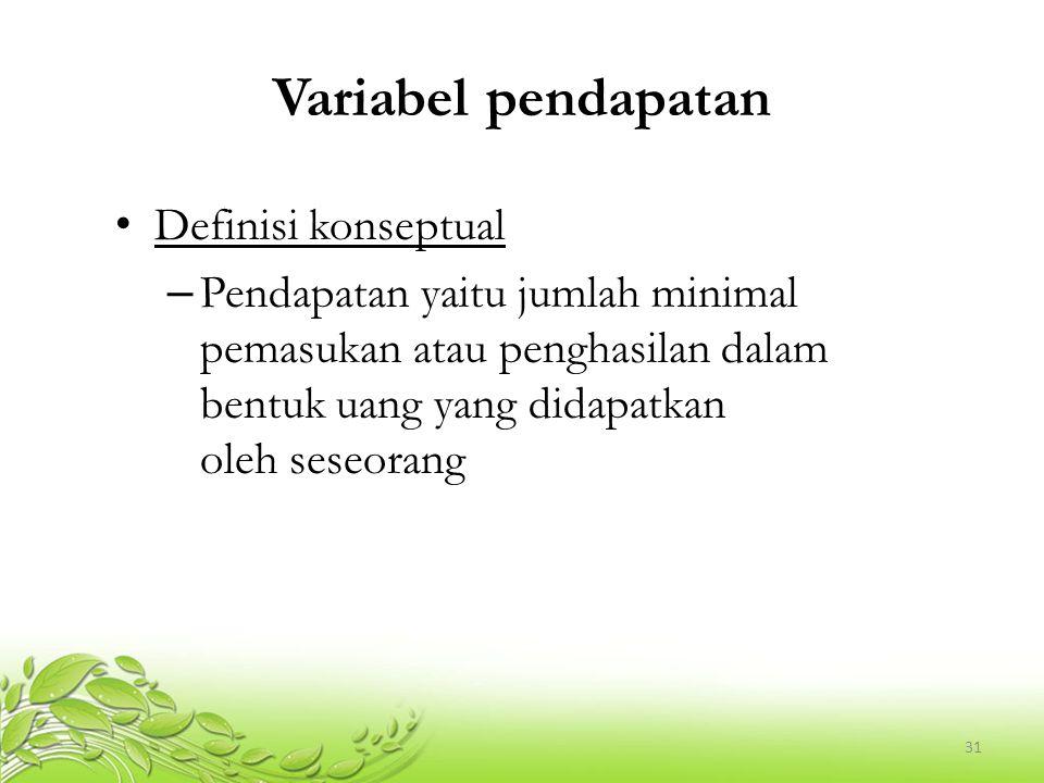 Variabel pendapatan Definisi konseptual
