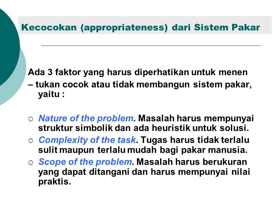 Kecocokan (appropriateness) dari Sistem Pakar