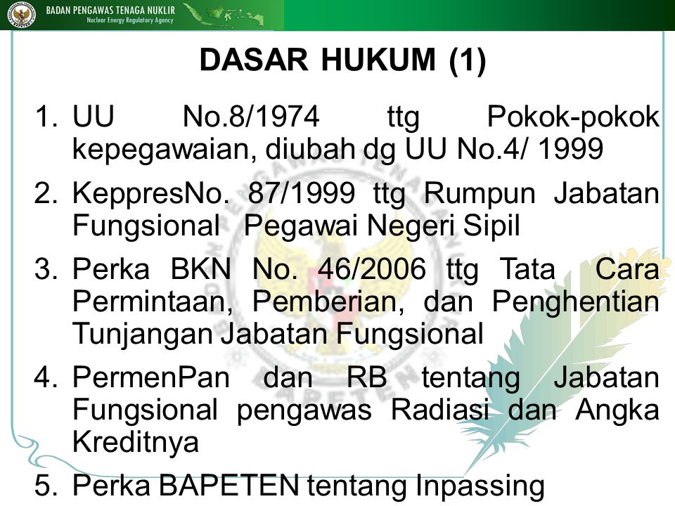 DASAR HUKUM (1) UU No.8/1974 ttg Pokok-pokok kepegawaian, diubah dg UU No.4/ 1999.