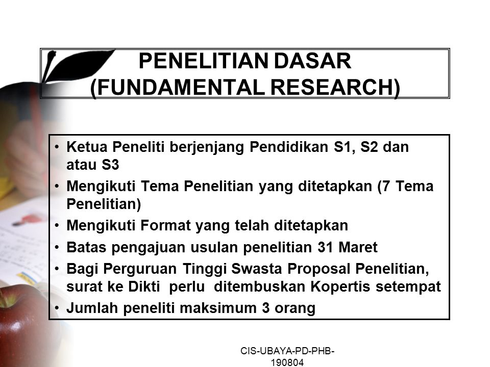 PENELITIAN DASAR (FUNDAMENTAL RESEARCH)