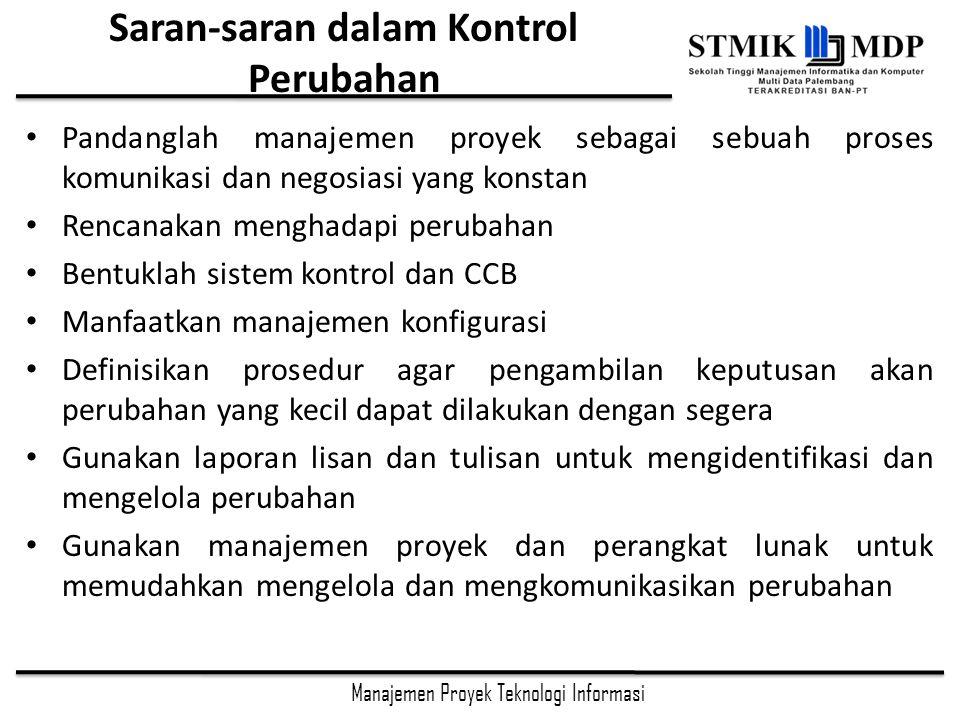 Saran-saran dalam Kontrol Perubahan