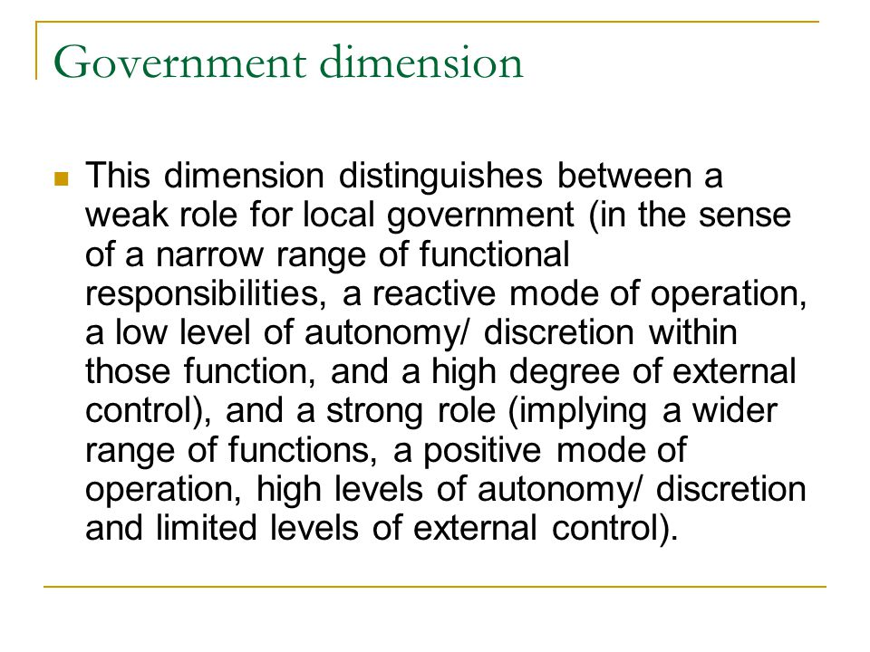 Government dimension