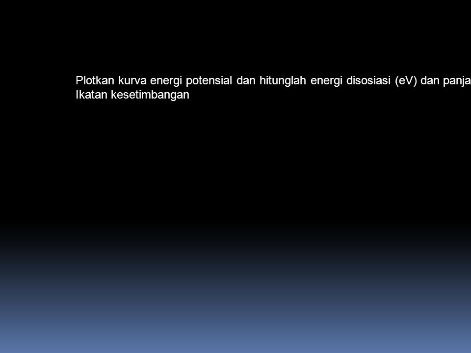 Plotkan kurva energi potensial dan hitunglah energi disosiasi (eV) dan panjang
