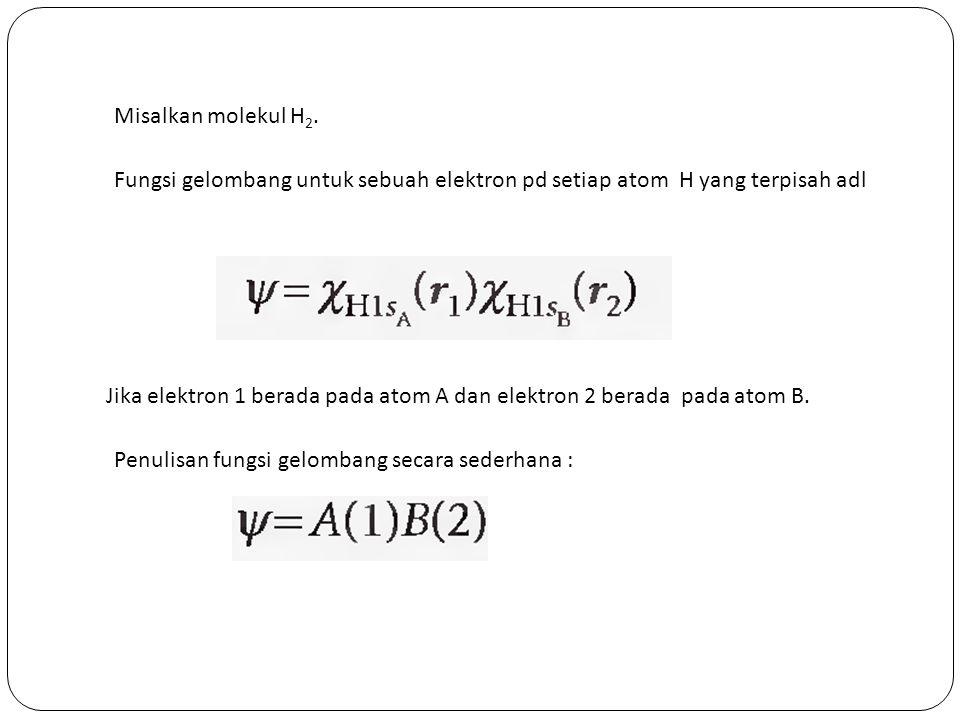Misalkan molekul H2. Fungsi gelombang untuk sebuah elektron pd setiap atom H yang terpisah adl.