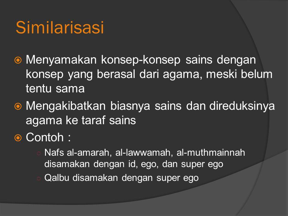 Similarisasi Menyamakan konsep-konsep sains dengan konsep yang berasal dari agama, meski belum tentu sama.