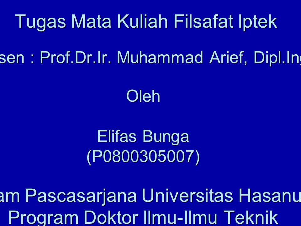 PENGENALAN FILSAFAT Tugas Mata Kuliah Filsafat Iptek Dosen : Prof. Dr
