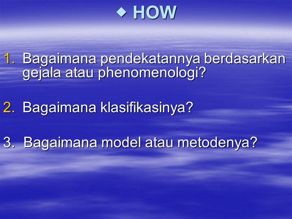  HOW Bagaimana pendekatannya berdasarkan gejala atau phenomenologi