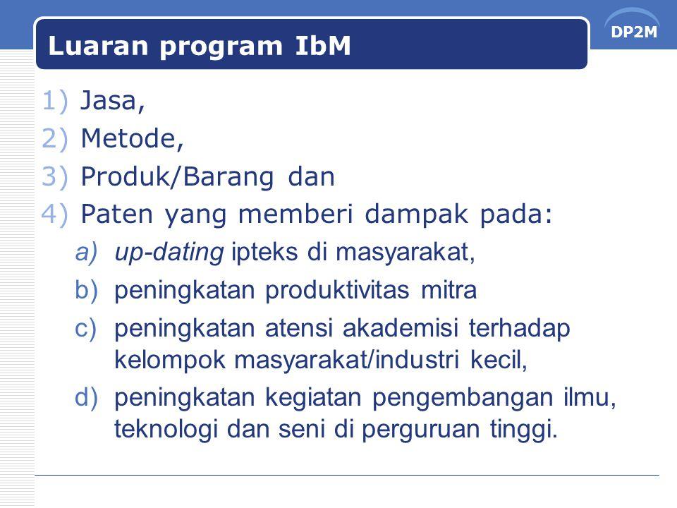 Luaran program IbM Jasa, Metode, Produk/Barang dan. Paten yang memberi dampak pada: up-dating ipteks di masyarakat,