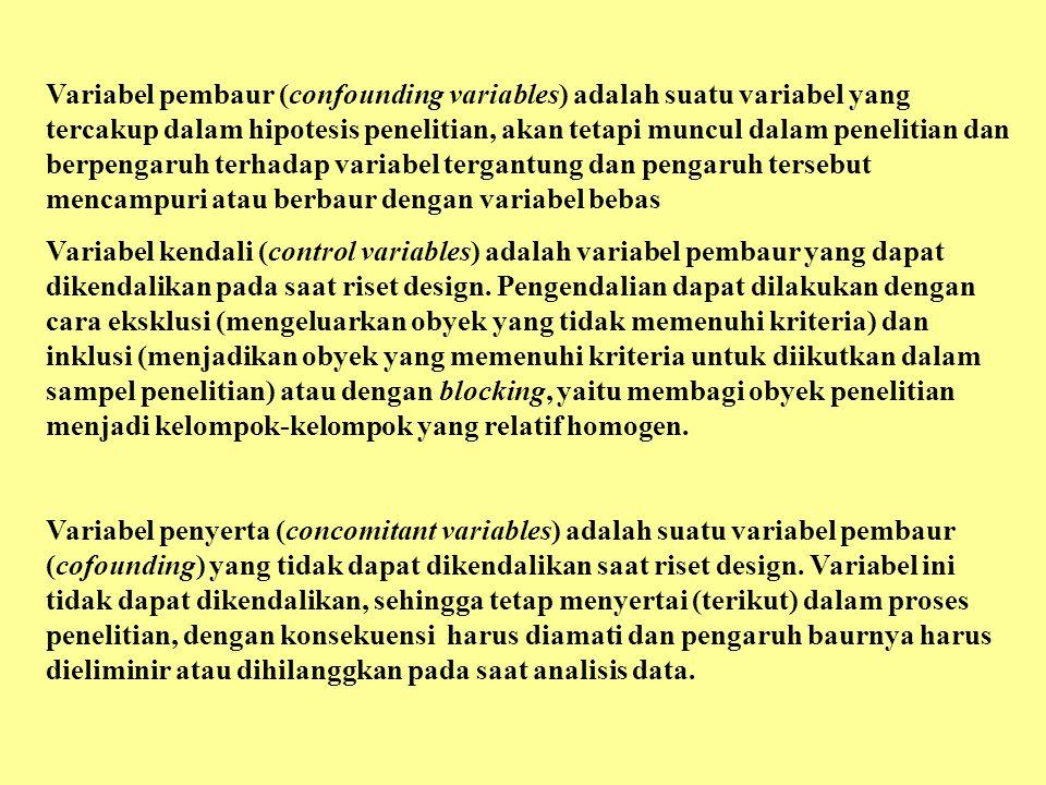 Variabel pembaur (confounding variables) adalah suatu variabel yang tercakup dalam hipotesis penelitian, akan tetapi muncul dalam penelitian dan berpengaruh terhadap variabel tergantung dan pengaruh tersebut mencampuri atau berbaur dengan variabel bebas