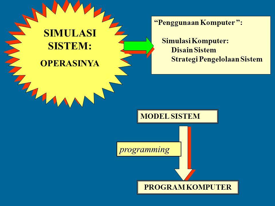 SIMULASI SISTEM: OPERASINYA programming Penggunaan Komputer :