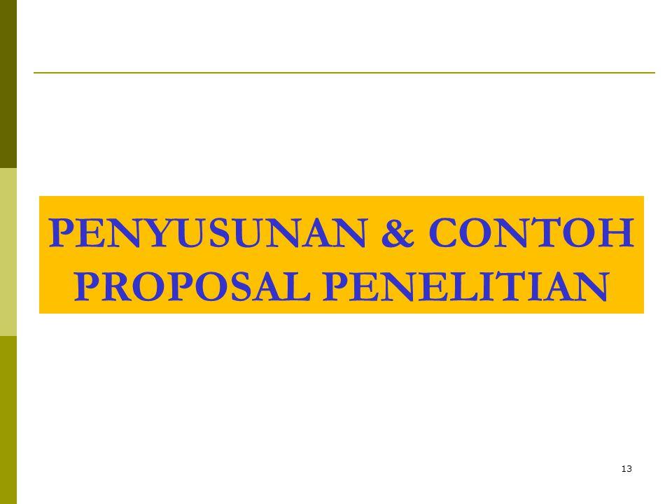 PENYUSUNAN & CONTOH PROPOSAL PENELITIAN
