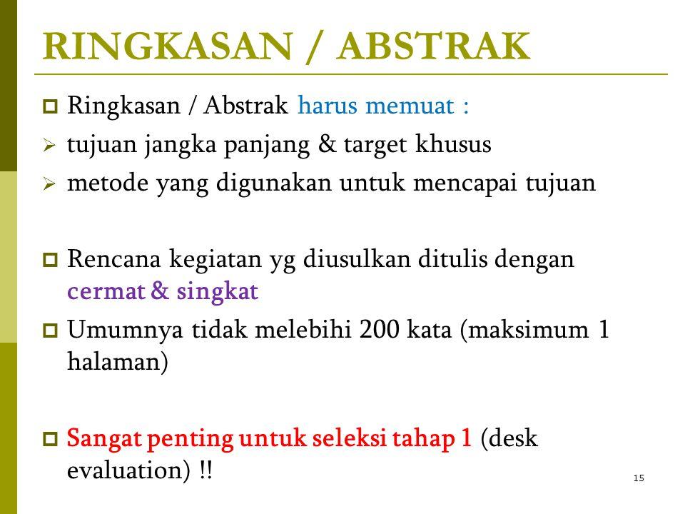 RINGKASAN / ABSTRAK Ringkasan / Abstrak harus memuat :