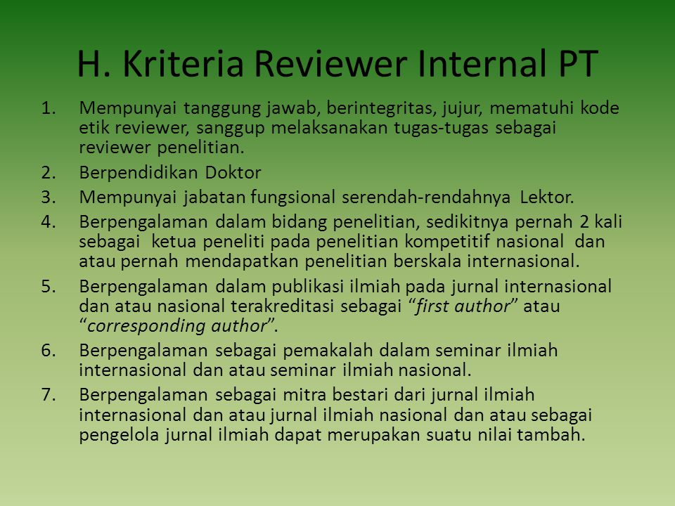 H. Kriteria Reviewer Internal PT