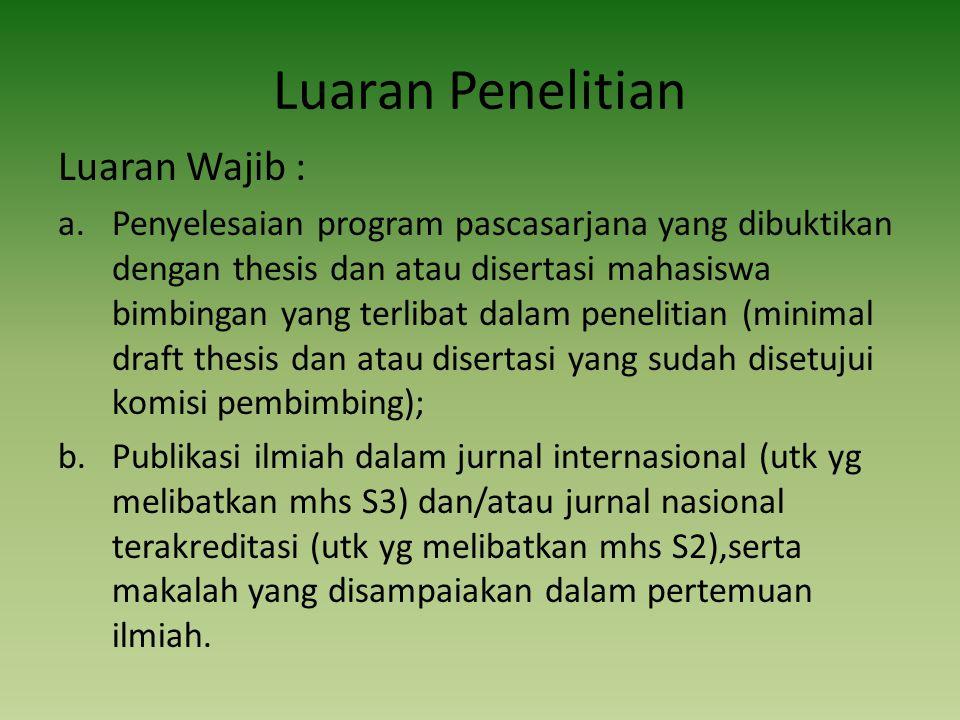Luaran Penelitian Luaran Wajib :