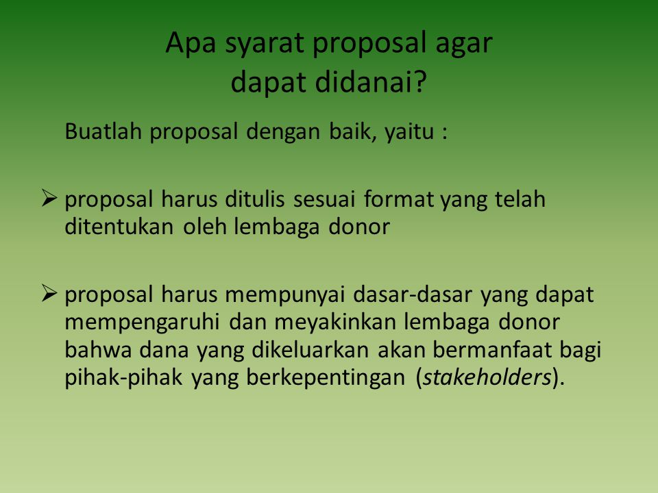 Apa syarat proposal agar dapat didanai