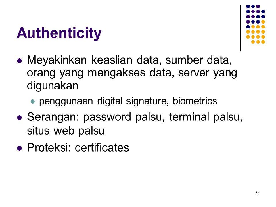 Authenticity Meyakinkan keaslian data, sumber data, orang yang mengakses data, server yang digunakan.