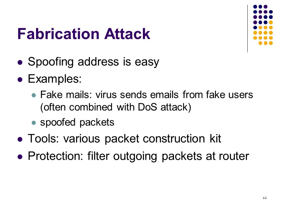 Fabrication Attack Spoofing address is easy Examples: