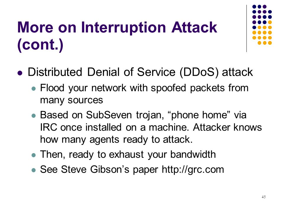 More on Interruption Attack (cont.)