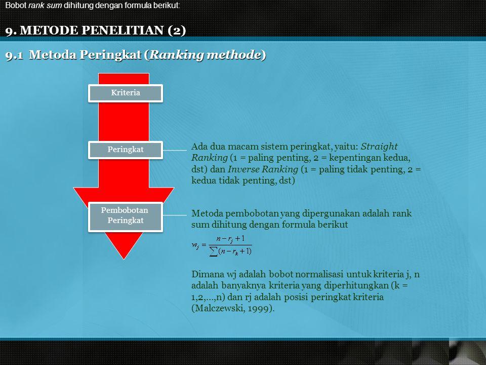 9.1 Metoda Peringkat (Ranking methode)
