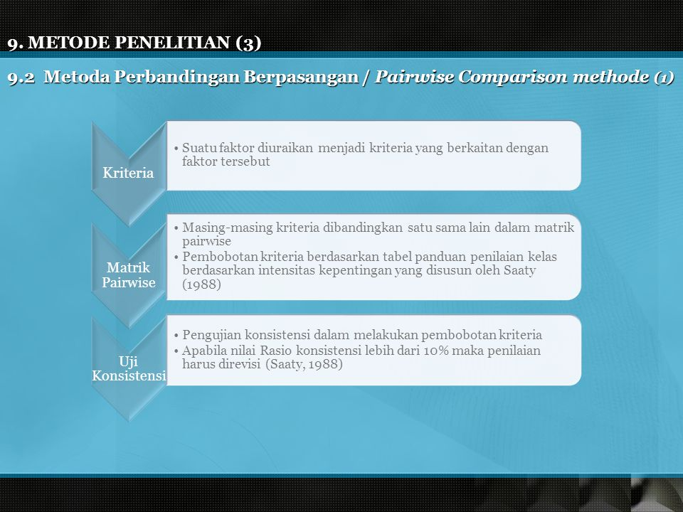 9.2 Metoda Perbandingan Berpasangan / Pairwise Comparison methode (1)