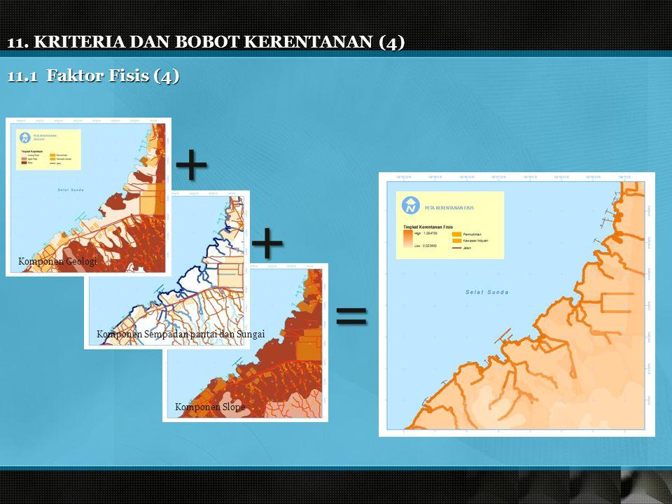 + + = 11. KRITERIA DAN BOBOT KERENTANAN (4) 11.1 Faktor Fisis (4)