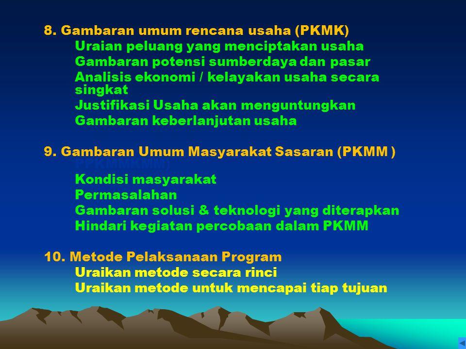 8. Gambaran umum rencana usaha (PKMK)
