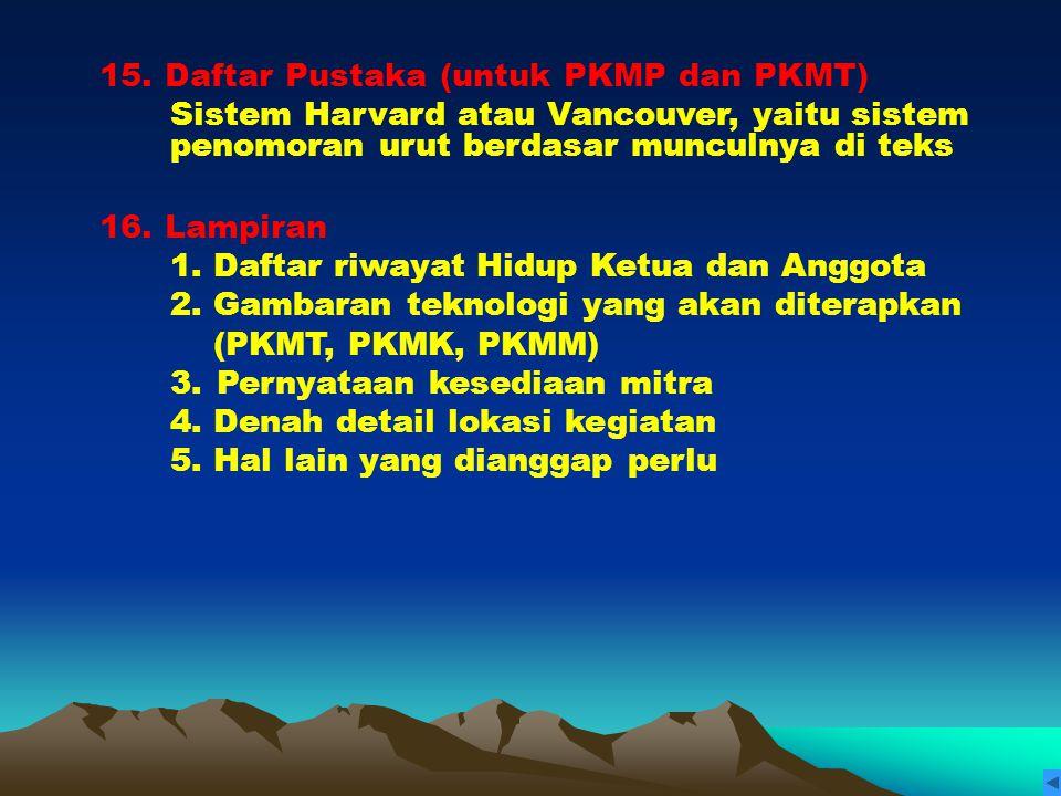 15. Daftar Pustaka (untuk PKMP dan PKMT)