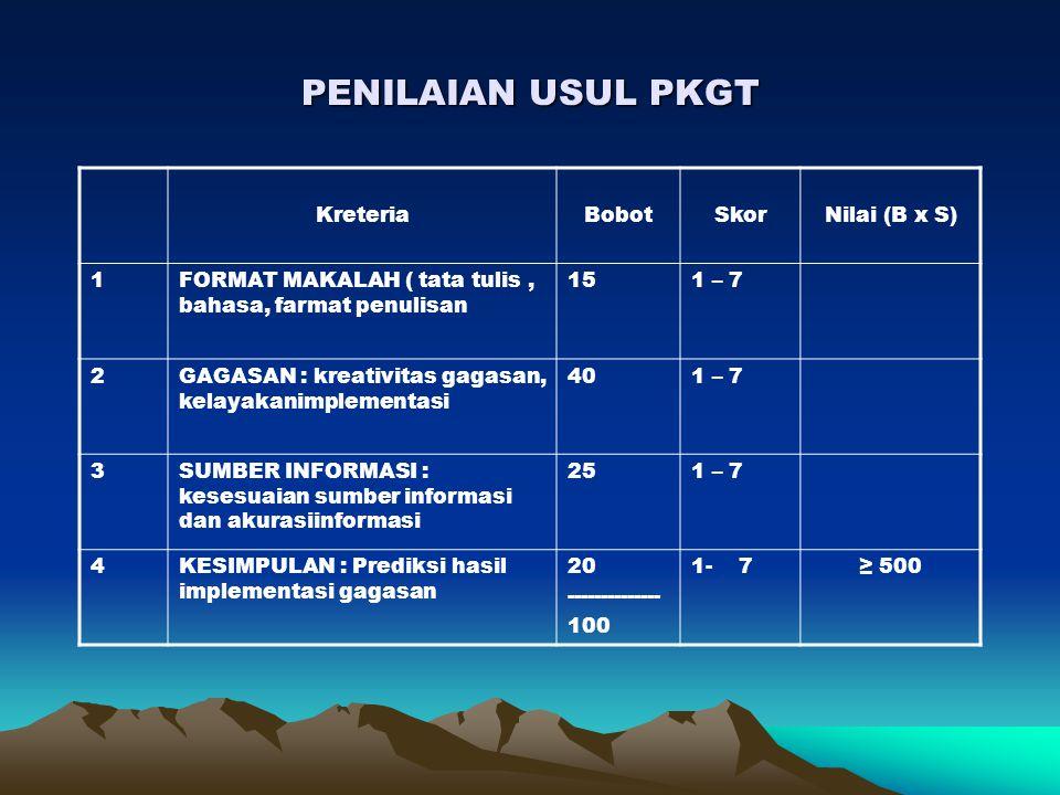 PENILAIAN USUL PKGT Kreteria Bobot Skor Nilai (B x S) 1