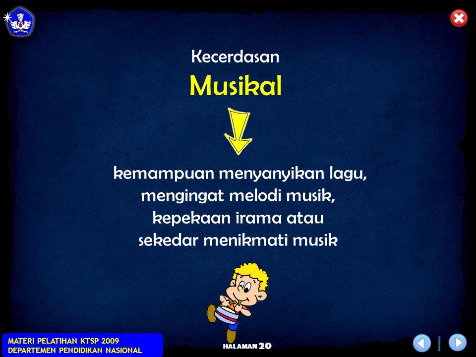 Musikal Kecerdasan kemampuan menyanyikan lagu, mengingat melodi musik,