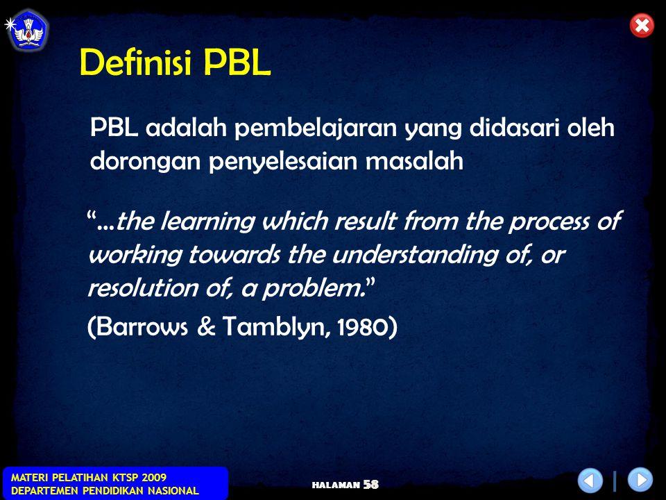 Definisi PBL PBL adalah pembelajaran yang didasari oleh dorongan penyelesaian masalah.