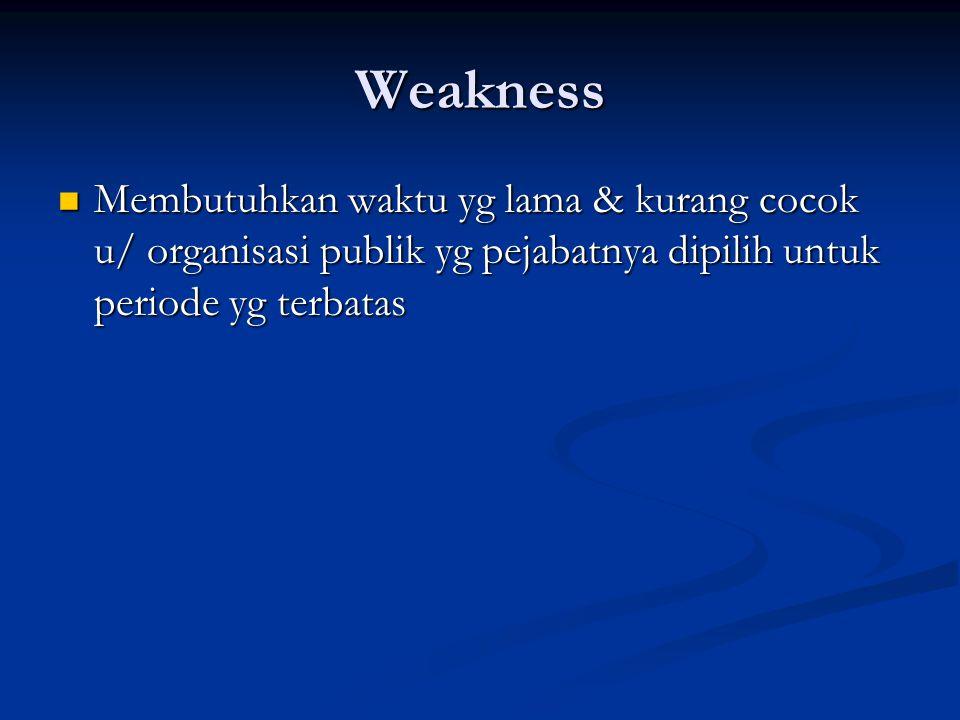 Weakness Membutuhkan waktu yg lama & kurang cocok u/ organisasi publik yg pejabatnya dipilih untuk periode yg terbatas.