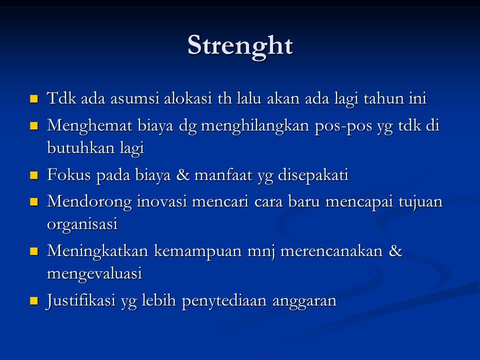 Strenght Tdk ada asumsi alokasi th lalu akan ada lagi tahun ini