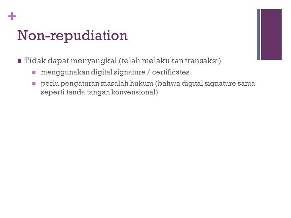 Non-repudiation Tidak dapat menyangkal (telah melakukan transaksi)