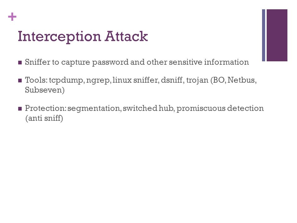 Interception Attack Sniffer to capture password and other sensitive information.