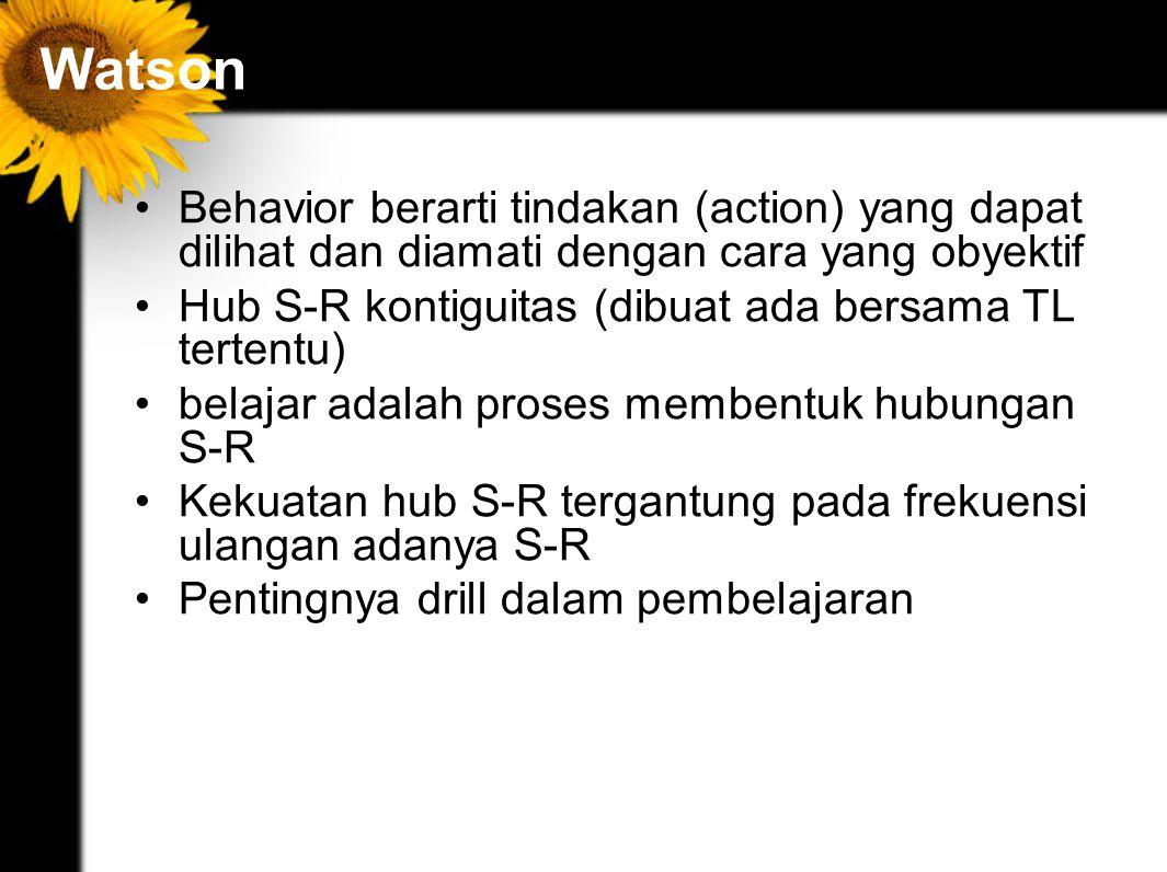 Watson Behavior berarti tindakan (action) yang dapat dilihat dan diamati dengan cara yang obyektif.