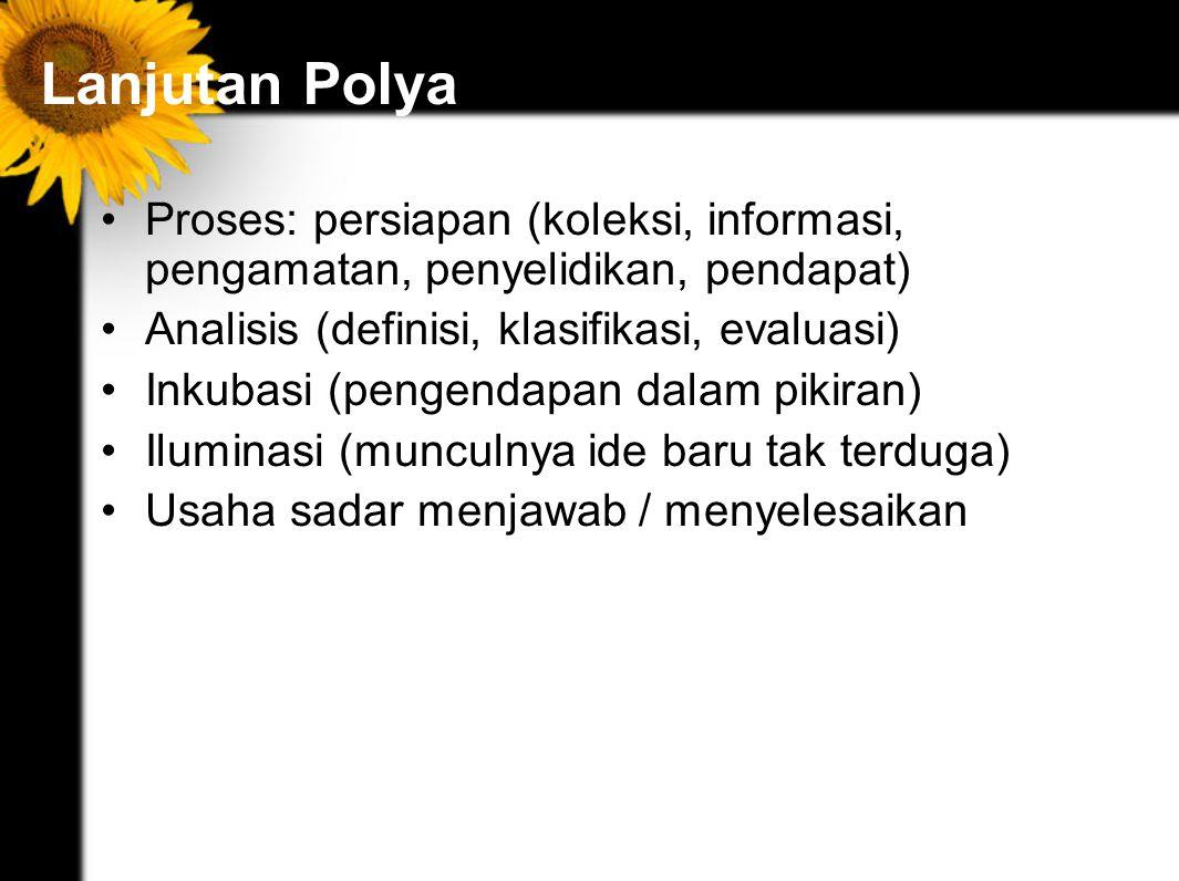 Lanjutan Polya Proses: persiapan (koleksi, informasi, pengamatan, penyelidikan, pendapat) Analisis (definisi, klasifikasi, evaluasi)