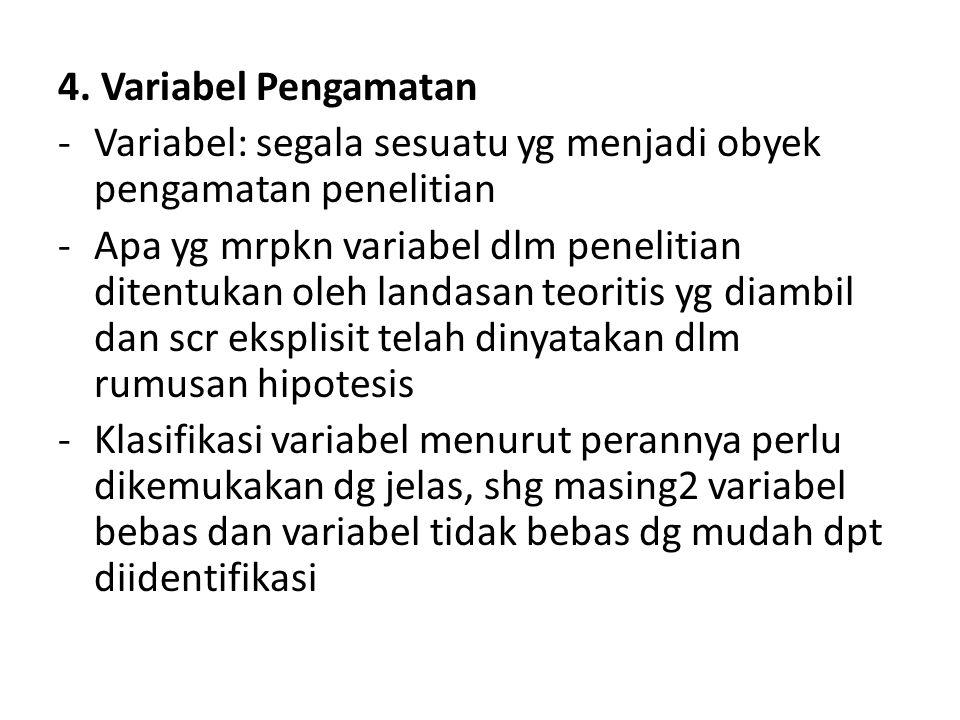 4. Variabel Pengamatan Variabel: segala sesuatu yg menjadi obyek pengamatan penelitian.