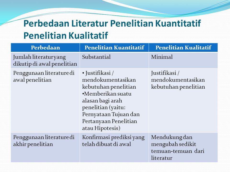 Perbedaan Literatur Penelitian Kuantitatif Penelitian Kualitatif
