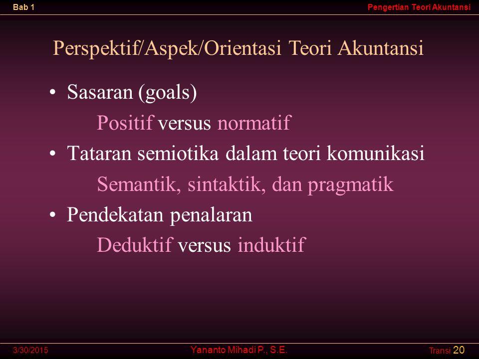Perspektif/Aspek/Orientasi Teori Akuntansi