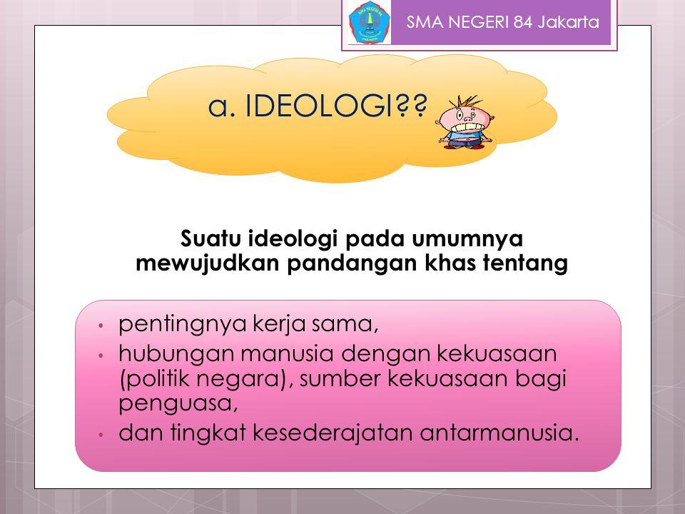 Suatu ideologi pada umumnya mewujudkan pandangan khas tentang