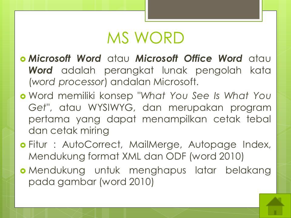 MS WORD Microsoft Word atau Microsoft Office Word atau Word adalah perangkat lunak pengolah kata (word processor) andalan Microsoft.