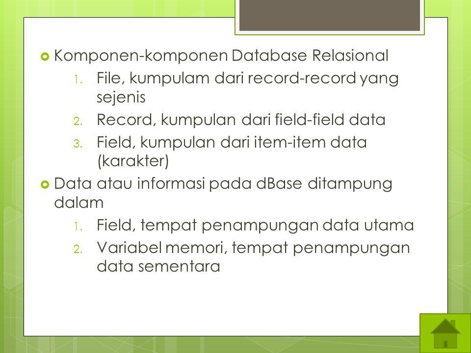 Komponen-komponen Database Relasional
