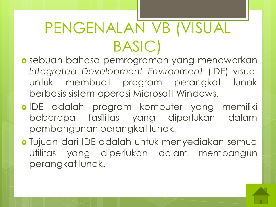 PENGENALAN VB (VISUAL BASIC)