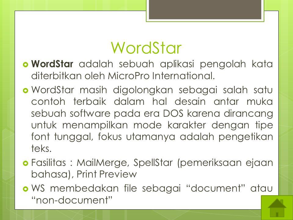 WordStar WordStar adalah sebuah aplikasi pengolah kata diterbitkan oleh MicroPro International.