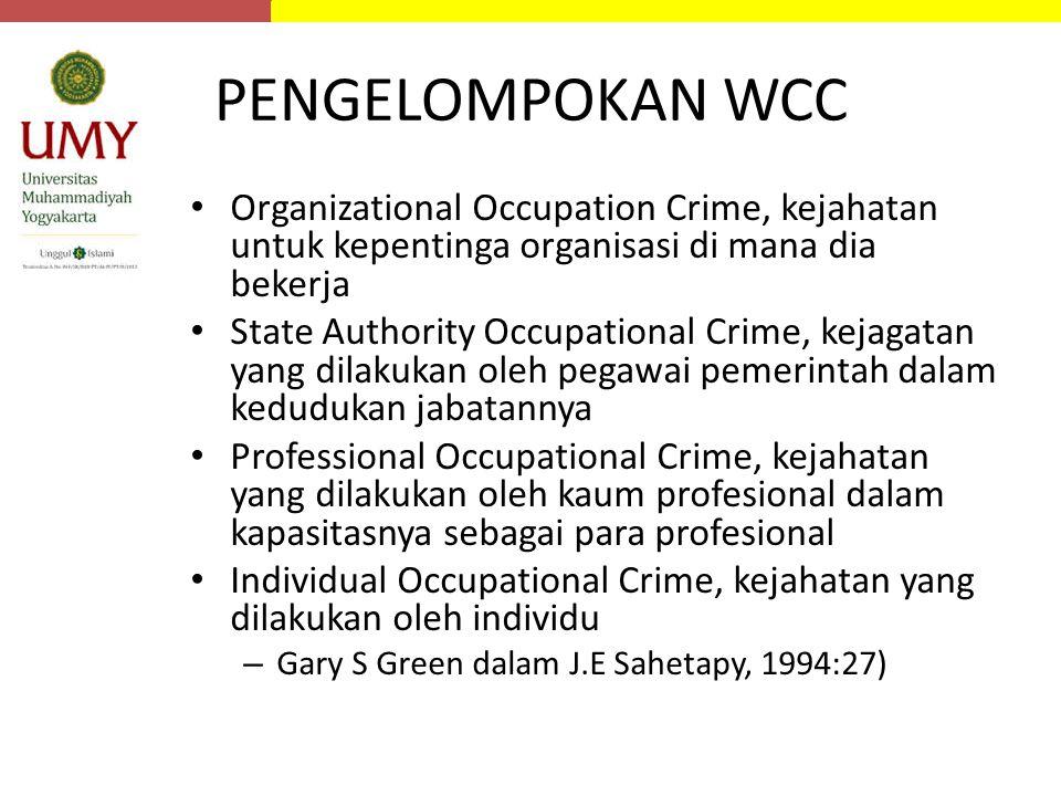 PENGELOMPOKAN WCC Organizational Occupation Crime, kejahatan untuk kepentinga organisasi di mana dia bekerja.