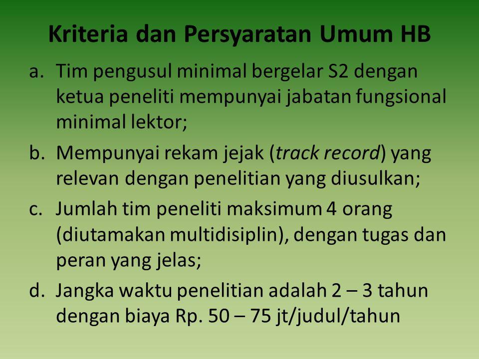 Kriteria dan Persyaratan Umum HB