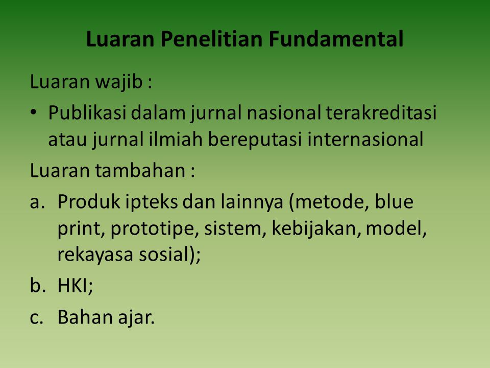 Luaran Penelitian Fundamental