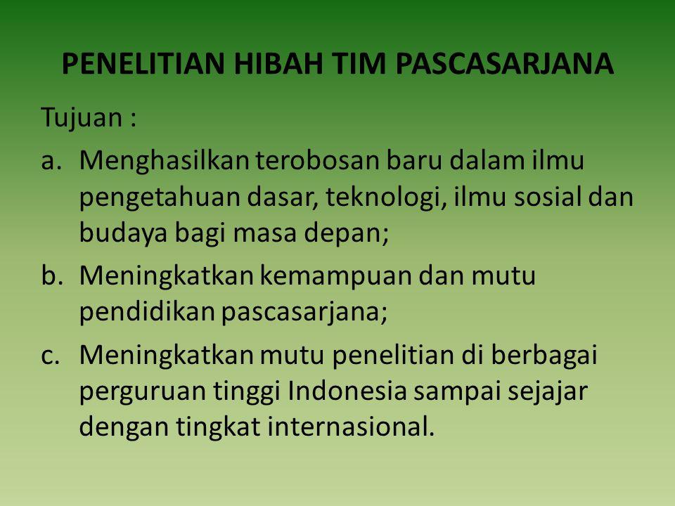 PENELITIAN HIBAH TIM PASCASARJANA