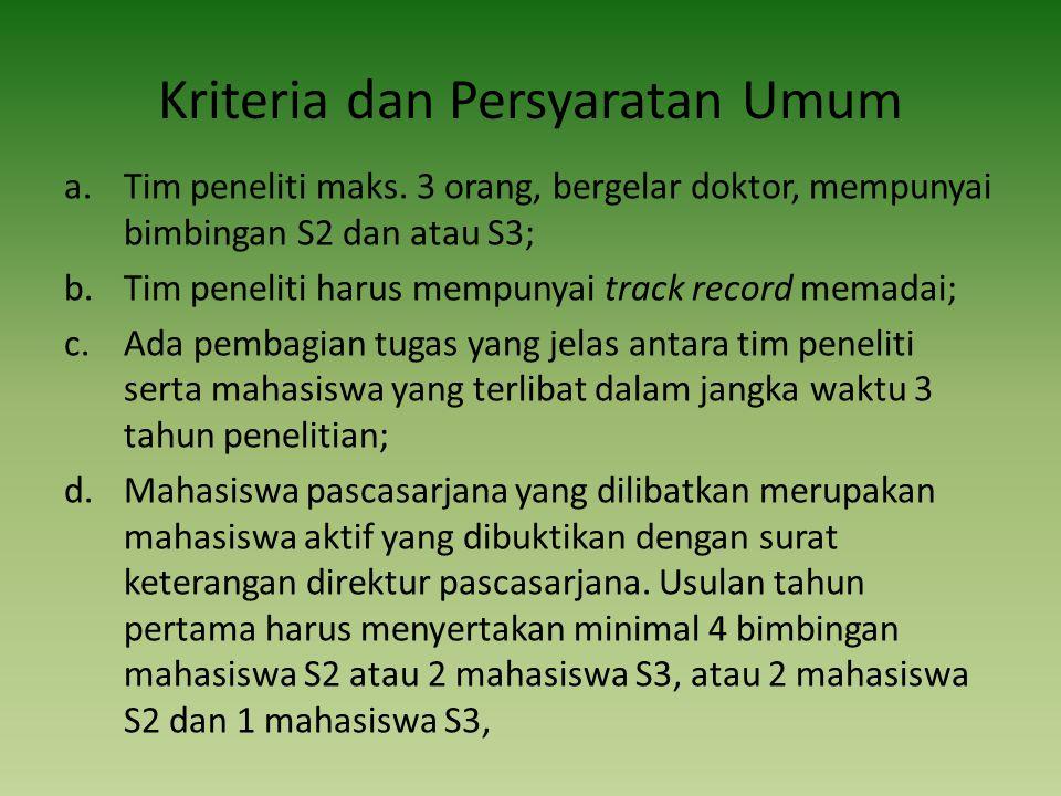 Kriteria dan Persyaratan Umum