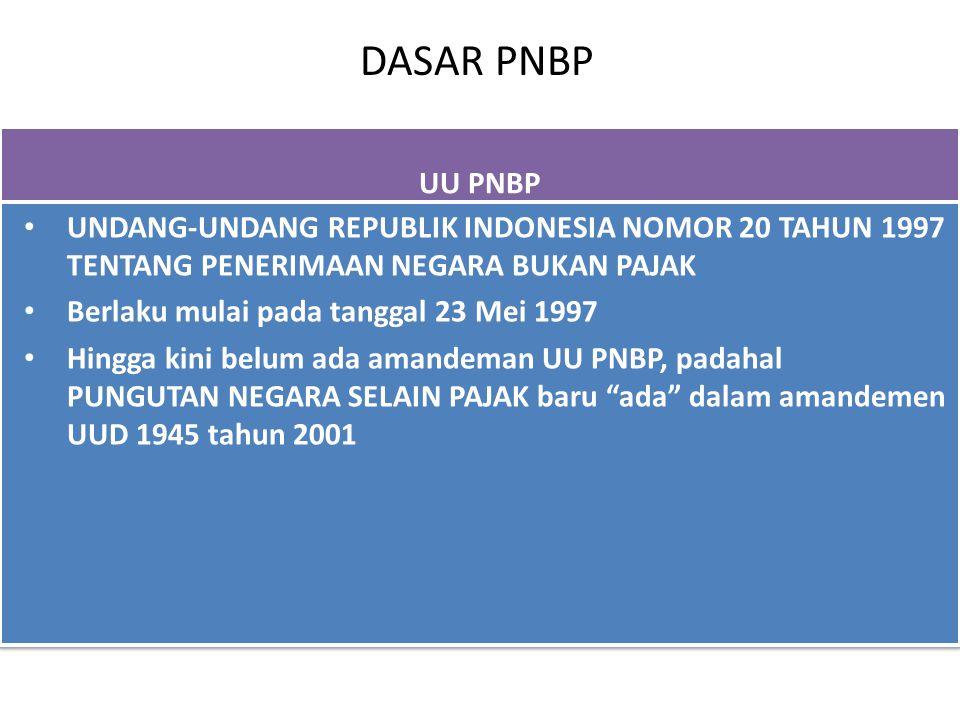 DASAR PNBP UU PNBP. UNDANG-UNDANG REPUBLIK INDONESIA NOMOR 20 TAHUN 1997 TENTANG PENERIMAAN NEGARA BUKAN PAJAK.